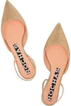 metallic point-toe flats / rochas