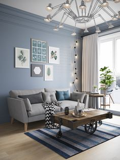 Living room wood grey scandinavian interiors 63 ideas for 2019 Blue Living Room Decor, Living Room Color Schemes, Living Room White, White Rooms, Living Room Colors, New Living Room, Living Room Interior, Home And Living, Living Room Designs