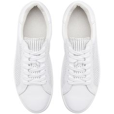Witchery Leah Perforated Sneaker (1,220 EGP) ❤ liked on Polyvore featuring shoes, sneakers, witchery shoes, white trainers, white sneakers, white leather sneakers and genuine leather shoes