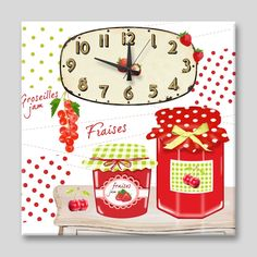 Dekorasyon  Özel Tasarım Saatler,   APOLENA,   Apolena Kiraz Reçeli Kanvas Saat ,   saat, tablo, kanvas saat, apolena saat, duvar saati, saatler
