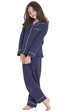 Very cute and comfy. MORE different colors and size+++ sets +++PajamaGram Big Girls Pajamas Set - Long Sleeve 2 Piece Gi. Classic Girl, Classic Looks, Navy Color, Navy Blue, Long Sleeve Pyjamas, Girls Pajamas, Pajama Set, What To Wear, To My Daughter