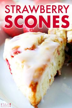 An easy Strawberry Scones Recipe for buttery, perfectly golden buttermilk scones studded with fresh strawberries and topped with a delicious lemon glaze! This simple buttermilk scone recipe is perfect for spring and summer baking and go great with a steaming hot cup of coffee or tea. They also make a lovely addition to any brunch menu! Muffin Recipes, Brunch Recipes, Brunch Menu, Dessert Recipes, Fall Desserts, Summer Recipes, Bread Recipes, Baking Recipes, Strawberry Scones