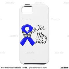 Blue Awareness Ribbon For My Hero iPhone 5 Cases