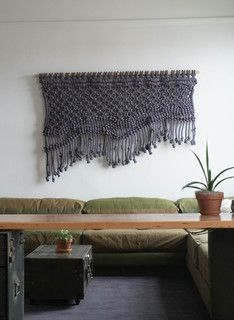Macramé wall hanging by Sally England, ACE Hotel in Portland, OR New Living Room, Living Room Modern, Living Spaces, Turbulence Deco, Ideas Para Organizar, Boho Home, Ace Hotel, Sweet Home, Weaving
