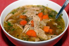 Favorite chicken/turkey soup recipe. Easy to throw together and sits in the slow cooker all day.