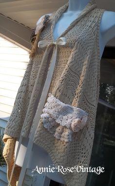 "AnnieRoseVintage Upcycled Embellished Crochet Cardigan Sweater ""Victoria"""