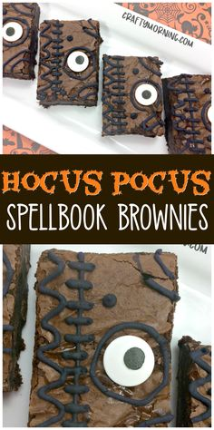 Make fun hocus pocus spellbook brownies for a halloween treat/dessert for the kids! Love this movie! Make fun hocus pocus spellbook brownies for a halloween treat/dessert for the kids! Love this movie! Halloween Brownies, Halloween Desserts, Hallowen Food, Halloween Goodies, Halloween Cupcakes, Hallowen Treats, Halloween Decorations, Halloween Treats For Kids, Spooky Treats