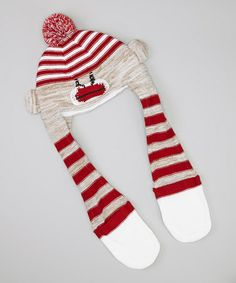 Take a look at this Red & Brown Stripe Sock Monkey Hooded Scarf by Kids Apparel Club on #zulily today!