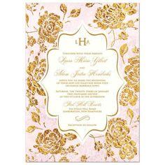 Vintage blush pink, ivory and gold rose floral monogram wedding invitation