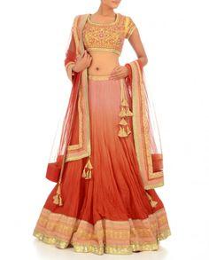 Exclusively.In  Peach & Bright Orange Shaded Lengha Set, By Shyam Narayan Prasad