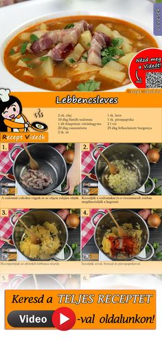 Lebbencsleves A Food, Good Food, Food And Drink, Yummy Food, Veggie Recipes, Soup Recipes, Cooking Recipes, Hungarian Recipes, Dessert Drinks