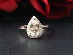 Morganite Ring Setting can be also made with 18K Gold.  Morganite ring has about 0.19 ct diamonds in setting(SI in Clarity and H in color),if you would like full eternity ring contact me before purchase.  Item info: Morganite stone Shape: Pear Cut Clarity: VS Measurements: around 7x10mm Material: 14/18k, yellow/white/rose solid gold Size: 3.5-8 (Larger and smaller sizes are available. Priced upon request)  Procedure for making this item: Please select material and your size at ...