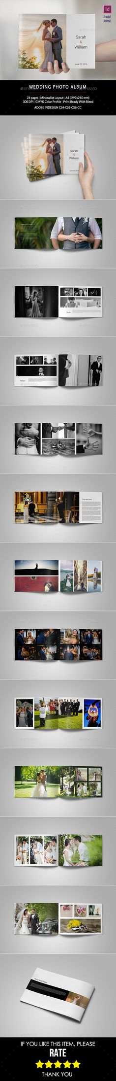 Wedding Photo Album — InDesign INDD #brochure #a4 • Available here → https://graphicriver.net/item/wedding-photo-album/10963835?ref=pxcr