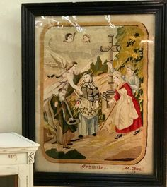 Antique French Needlepoint With Painted Faces  $325  Shabby Chic Dallas  Booth #477  Forestwood Antique Mall 5333 Forest Lane Dallas, TX 75244