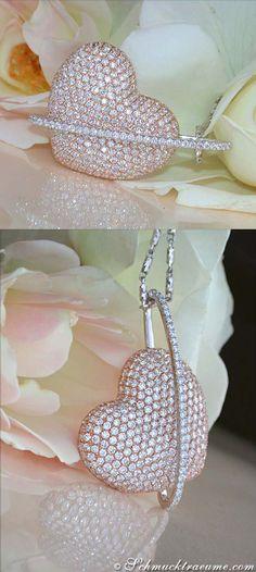 Huge Diamond Heart Pendant, 4,79 ct. G-VS WG&RG-18K - Visit: schmucktraeume.com
