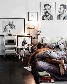 https://www.instagram.com/p/BNa4ofBg7Fx/?taken-by=bloggers_boyfriend  Men in the morning, men in bed, Men's bedroom, Interior Goals, guy's bedroom, white horse print, Tom Hardy, Interior designer, Ikea, West Elm, linen sheet, concrete floor, minimal minimalism warehouse industrial pipe rusted metal monochrome