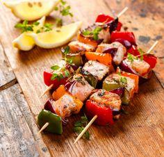 Grilled Skewers Salmon Vegetables Stock Photo (Edit Now) 284842085 Vegetable Stock Image, Kabobs, Bruschetta, Sweet Potato, Potato Salad, Grilling, Food And Drink, Snacks, Veggies
