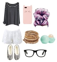 """""""Netflix time!❤️"""" by tiffanylcrowe on Polyvore featuring beauty, Alexis, H&M, Chan Luu, Kate Spade and Eos"""