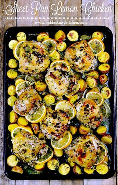 Sheet Pan Lemon Chicken is delicious, and with very few steps, and one pan, it makes a perfect weeknight, or Sunday Supper meal that your whole family will love. Ways To Cook Chicken, Chicken Recipes, Menu Rapido, Catering, One Pan Dinner, Sheet Pan Dinner, Recipe Sheets, Sheet Pan Suppers, Carnivore