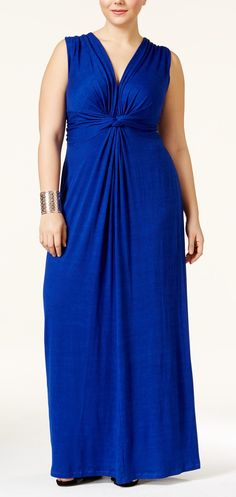 Plus Size Twist-Front Maxi Dress - Cute for summer, love the v-neck, wide straps.