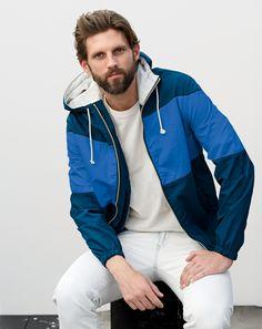 J.Crew men's colorblock cotton x150 jacket in blue deep pool and broken-in crewneck tee.