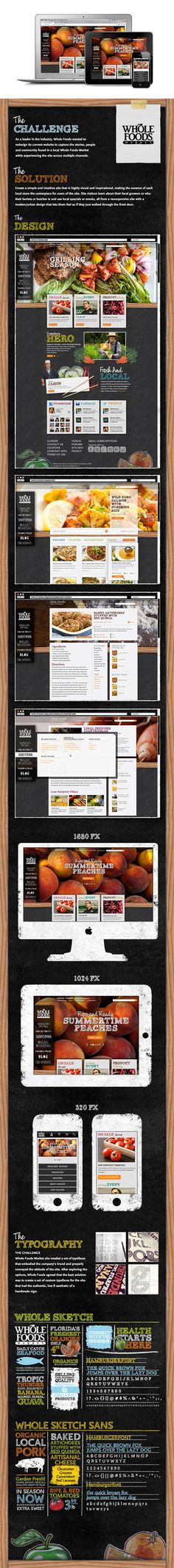 WholeFoodsMarket.com Redesign by Chris Klee, via Behance *** As a leader in the industry, Whole Foods wanted to redesign its current website to capture the stories, people and community found in a local Whole Foods Market while experiencing the site across multiple channels.