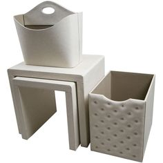 Off White Leatherette Side Tables and Storage Accessories (set of 4)