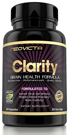 #1 Brain Supplement Nootropic  Mind & Energy Booster  Clarity by Neovicta  Improve Focus Memory & Mood  Promotes Superior Brain Function in Men & Women  30 Day Supply  Money Back Guarantee
