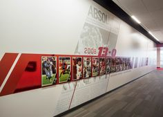 Spence and Cleone Eccles Football Center, University of Utah Office Wall Design, Corporate Office Design, Environmental Graphics, Environmental Design, Donor Wall, Timeline Design, Typography Poster Design, University Of Utah, Geometric Wall