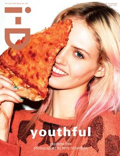 """Three Girls – Models Charlotte Free, Cara Delevingne and Kelly Mittendorf cover the """"Youthful"""" issue of i-D Magazine. The trio poses for Terry Richardson's lens with various props including a stuffed animal and even pizza."""