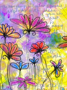 Go Wild 8 x 10 inch garden leaves landscape flowers colorful drawing digital collage