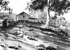 watercolor and ink | Old-Shearing-Shed-Pen-and-Ink-and-Wash-by-Joe-Cartwright.jpg