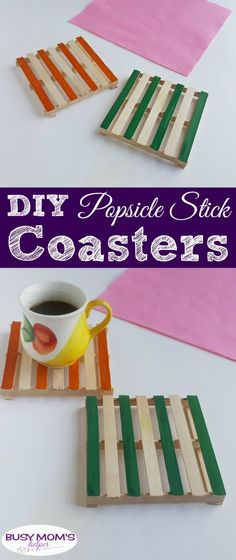 DIY Popsicle Stick Coasters / a fun craft for adults, kids, teens or anyone! DIY Popsicle Stick Coasters / a fun craft for adults, kids, teens or anyone! Popsicle Stick Crafts For Adults, Arts And Crafts For Adults, Popsicle Crafts, Easy Arts And Crafts, Diy Crafts For Kids, Crafts To Sell, Craft Projects For Adults, Quick Crafts, Daycare Crafts