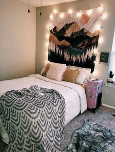 TapestryGirls.com Girl Bedroom Designs, Room Ideas Bedroom, Cozy Bedroom, Bedroom Styles, Bedroom Decor, Bedroom Inspo, Wall Decor, Blanket On Wall, Tapestry Bedroom