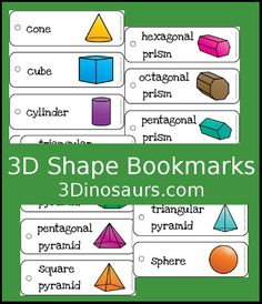 3 Dinosaurs - 3D Shape Bookmark Printable