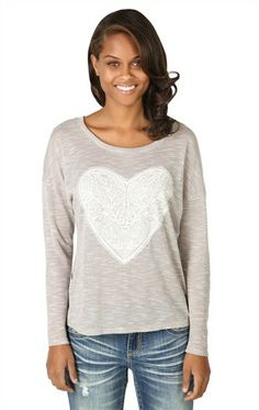 Deb Shops Long Sleeve Marled Dolman Top with #Heart Crochet Patch
