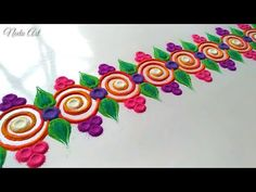 Border rangoli designs are the beautiful part of any festival like diwali speciallly in india. You can choose your favourite from border rangoli designs Rangoli Borders, Rangoli Border Designs, Colorful Rangoli Designs, Rangoli Designs Images, Kolam Rangoli, Beautiful Rangoli Designs, Peacock Rangoli, Flower Rangoli, Rangoli Photos