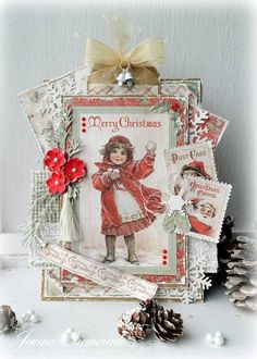 """Beautiful Christmas Card - with papers from MajaDesign's """"I Wish"""". Created by Jenine Siemerink Christmas Card Crafts, Merry Christmas Card, Christmas Cards To Make, Christmas Paper, Vintage Christmas Cards, Xmas Cards, Vintage Cards, Handmade Christmas, Holiday Cards"""