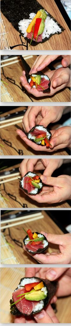 THIS IS THE JAPANESE HOMESYLE WAY OF HAVING A SUSHI PARTY---Temaki Sushi