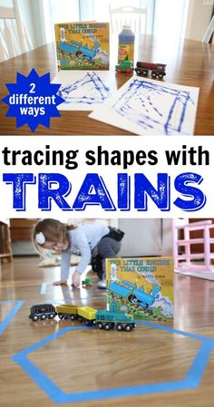 This post offers two fun ways for tracing shapes with trains after reading The Little Engine that Could by Watty Piper. Train Preschool Activities, Preschool Crafts, Shape Activities, Letter Activities, Preschool Shapes, Articulation Activities, Children Activities, Preschool Learning, Learning Centers