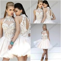 mobile site-Sexy backless Cocktail dresses Short Homecoming dresses high neck white lace Custom made sizes 2013 New arrival
