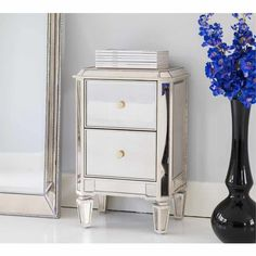Narrow Mirrored Bedside Table | Pinterest | Mirror bedside table ...