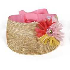 Simonetta Girls Straw Tie Visor in Pink - BAMBINIFASHION.COM Straw Visor, Summer Hats, Kids Hats, Grosgrain Ribbon, Innovation Design, Little Ones, Kids Outfits, Girly, Tie