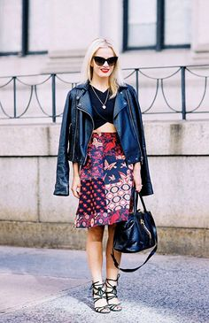 moto jacket and brilliantly patterned skirt. // #Fashion