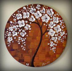 "ORIGINAL Fine Modern Textured Art Unique Abstract Cherry Blossom Tree Painting Landscape Home Office Decor 20"" Artwork by ZarasShop"