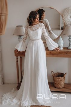 Original wedding dress 'Charlotte' in bohemian style, with detachable bishop sleeves // AURA by AlexVeil, Atmosphere collection Boho Wedding Dress With Sleeves, Cream Wedding Dresses, Outdoor Wedding Dress, Modest Wedding Dresses, Cheap Wedding Dress, Designer Wedding Dresses, Bridesmaid Dresses, Dresses With Sleeves, 70s Wedding Dress