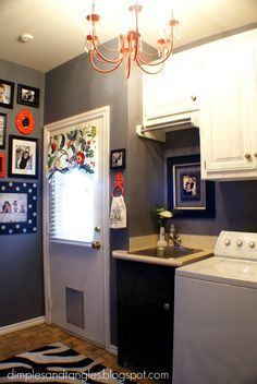 Love the orange and grey combo!  Dimples and Tangles: Now I WANT To Be In My Laundry Room!