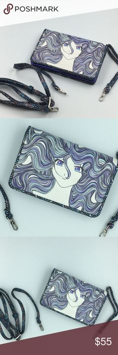 NW/T Anime Manga Bag crossbody or wristlet A really beautiful and unique clutch wallet with lots of compartments. Has 2 handles that can transform the bag into a crossbody one or a wristlet. The back and inside patters remind me of the scales you'd draw on a mermaid. Never worn, no tags. Very well made.  Make a reasonable offer and I'll either counter, accept or decline. No trades.  Please check out the rest of my closet, I have various other brands. Bags Clutches & Wristlets