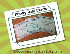 Use these task cards in centers or as independant work with a poem that you provide. They are leveled according to color and letter - red-low, purple-middle and green-high red-low purp. Teaching Poetry, Teaching Writing, Teaching Ideas, 4th Grade Writing, 5th Grade Reading, Poetry Unit, Writing Poetry, Writing Prompts, Poetry Activities