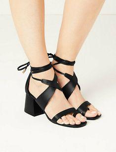 New M&S Women's/ Girls Black Lace up Sandals low block Heel  Size 5